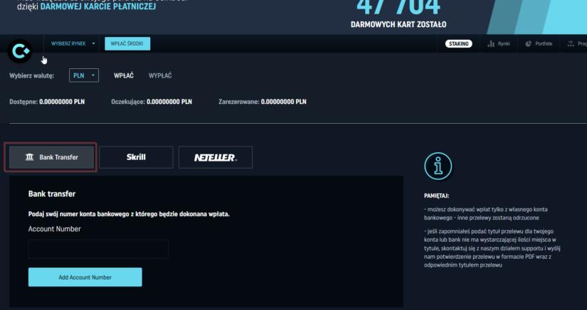 Jak wpłacić PLN przelewem bankowym na CoinDeal?